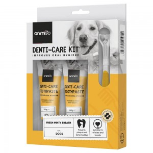 Denti-Care Kit - Daily Use Edible Toothpaste and Accessories for Cats and Dogs - Animigo - 70g Tube